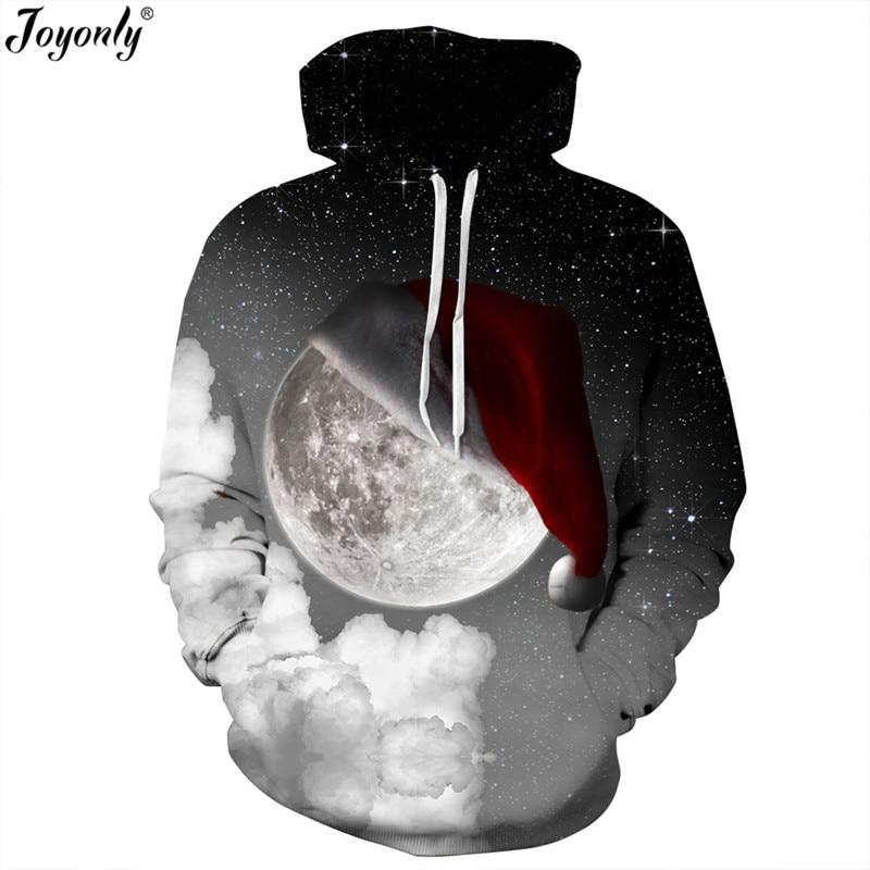 Joyonly New 2018 Women Men Space Galaxy Spoof Sweatshirt Funny 3D Hooded Hoodies Print Christmas Hat Moon Fashion Hoodie Tops
