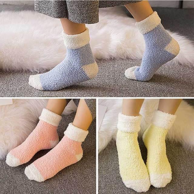AZUE Women/Girl's Warm Winter Socks Super Soft Microfiber Fuzzy Socks Comfortable Sleeping Socks