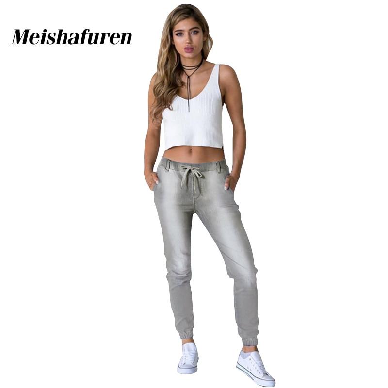 Donna Autumn New Women Jeans Gray Denim Harem Pants Casual Stretch Material Capris Elastic Waist & Ankle Female Jean Pants K453Z женские брюки brand new 3xl 6xl 2015 5colors capris pants