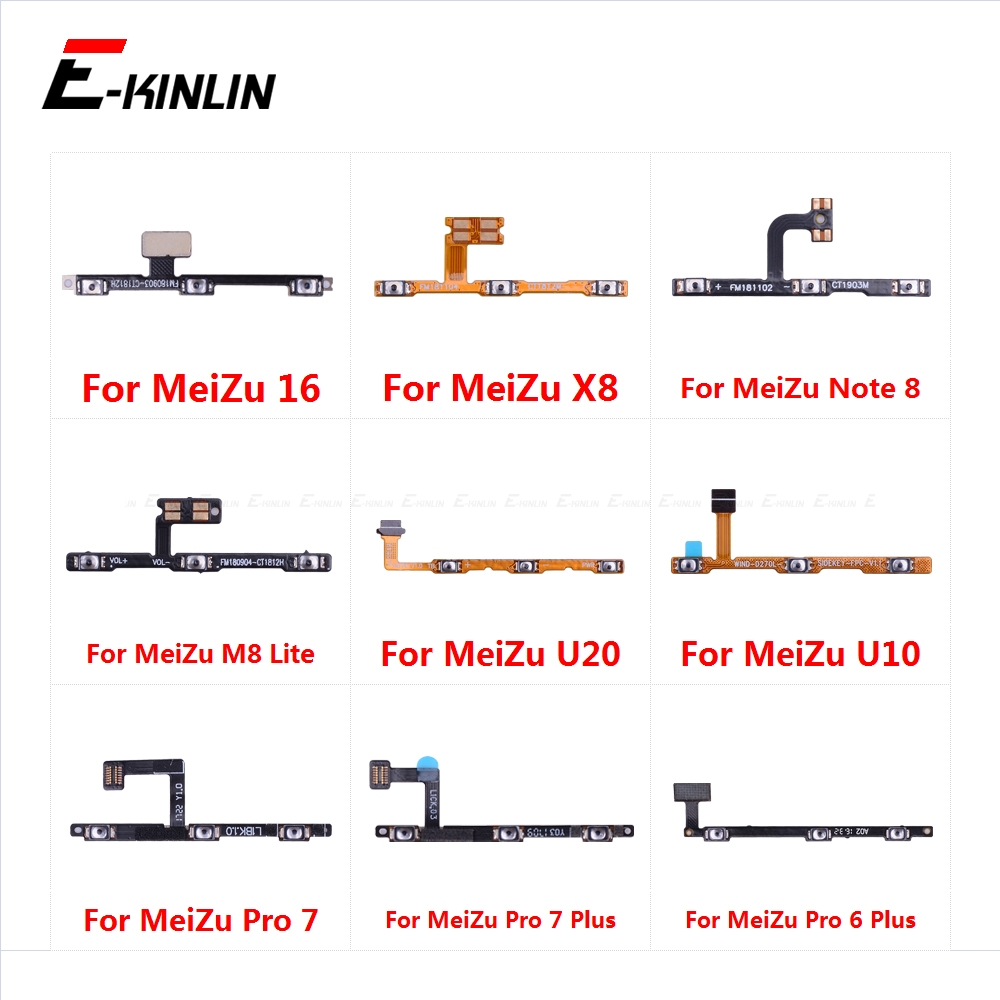 Switch Power ON OFF Button Flex Cable Ribbon For <font><b>MeiZu</b></font> <font><b>16</b></font> X8 Note 8 U20 U10 <font><b>Pro</b></font> 7 6 Plus Mute Silence Volume Key Repair Part image