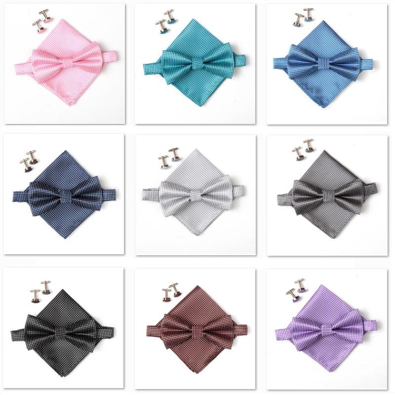 2019 mode grepp slips set för män Handduk manschettknappar fjäril Pocket Square