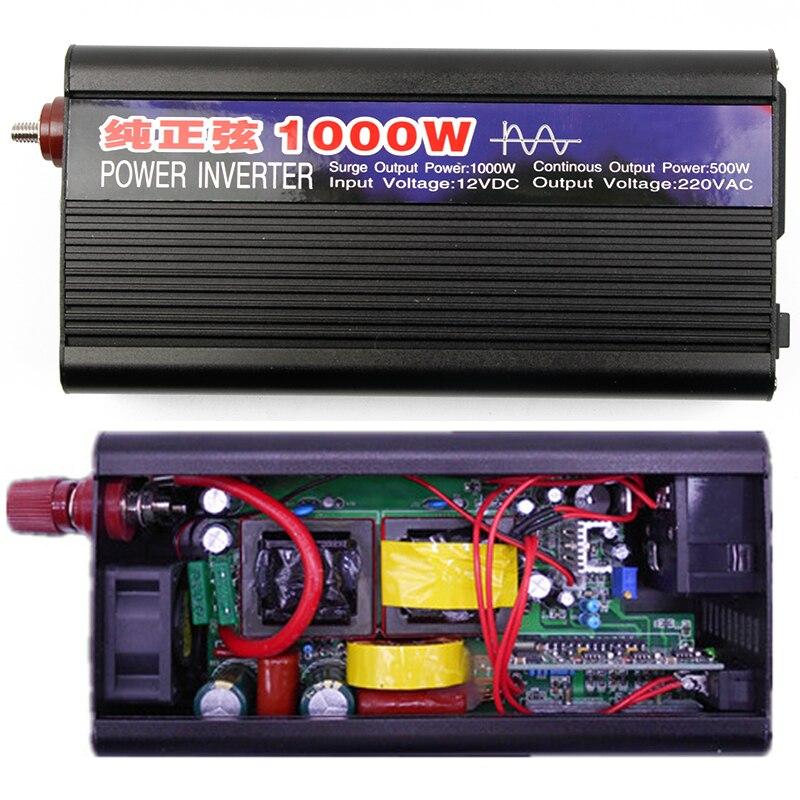 1000W Pure Sine Wave Car Inverter Power DC12V To AC220V Electronics Inverter Car Portable Supply For Home Auto Accessories plastic car dc12v 24v to ac220v power inverter with usb port black