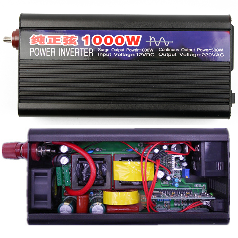 1000W Pure Sine Wave Car Inverter Power DC12V To AC220V Electronics Inverter Car Portabl ...