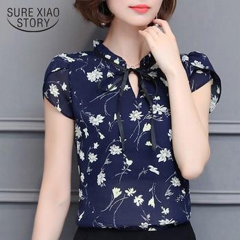 New 2018 Floral Chiffon Blouses Women Summer Tops And Shirts Bow Sweet Blouse Female Short Sleeve Clothing Feminina 0009 30