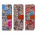 Das mulheres pintado abstrato da flor flip caso carteira de couro para iphone 7 plus
