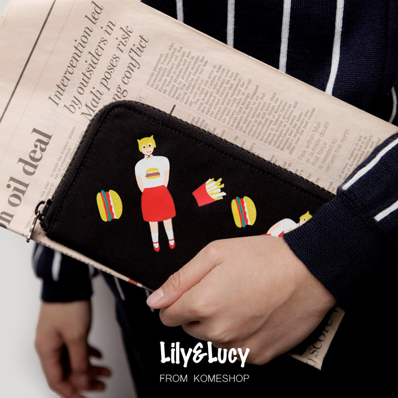 Brand YIZI Novelty Lily&Lucy Long Wallet Creative Women Milk Cow Hamburger  Cartoon Wallets Funny Canvas Purses and Handbags-in Wallets from Luggage &  Bags ...