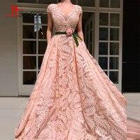 Liyatt 2018 Robe De Soiree Longue Pink Lace Short Sleeves Evening Dress Flower Waist Puffy Ball Gown Elegant Party Gown
