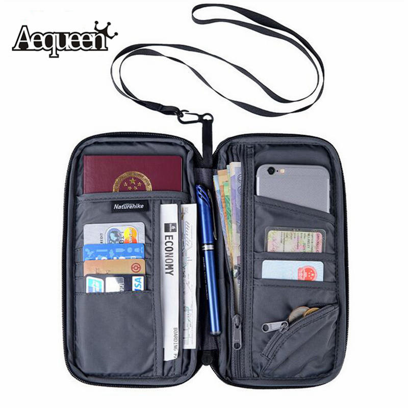 AEQUEEN Travel ID Card Wallet Women Large Capacity Passport Cover Men's Purse Waterproof Credit Card Holder Cellphone Money Bag travel passport cover wallet travel multi function credit card package trip id holder storage organize clutch money bag h 125