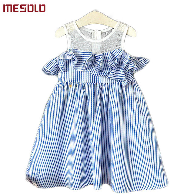 dee02475a8f13 US $9.04 45% OFF|MESOLO of 2018 the new princess han edition fashion than  western style stripe off the shoulder sundress D5824 girls dress-in Dresses  ...