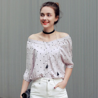 2016 New Women Sexy Blouse Summer Batwing Sleeve Chiffon Elegant Shirts Blusas Femininas Star Printed Slash