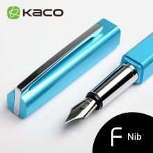 KACO SQUARE Series Luxury Blue and Silver Clip Fountain Pen with 0.5mm Nib Nobel Metal Aluminum Ink Pens Original Gift Case