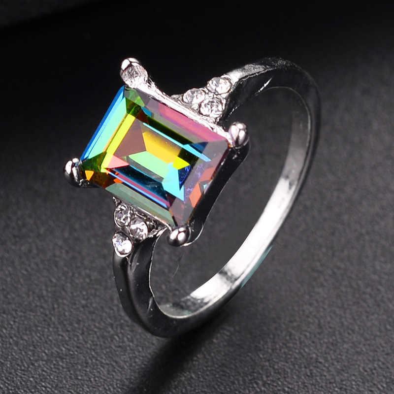 Модные мужские Для женщин цветными камнями площадь Циркон кольцо творческая личность инкрустированные Радуга кристаллы циркона кольцо Одежда высшего качества