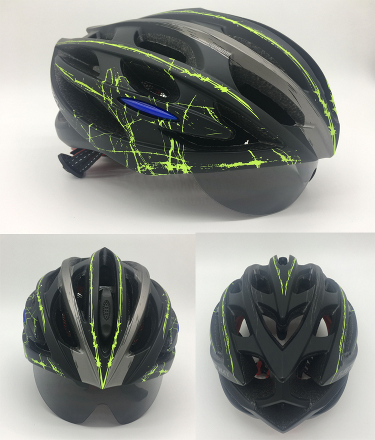 FASTERWAY blue green color for MTB and road bike 3 Lens Ultralight Men Women use Integrally molded EPS Bicycle parts bike helmet-in Bicycle Helmet from Sports & Entertainment    1
