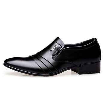 Luxury Brand PU Leather Fashion Men Business Dress Loafers Pointy Black Shoes Oxford Breathable Formal Wedding Shoes 1