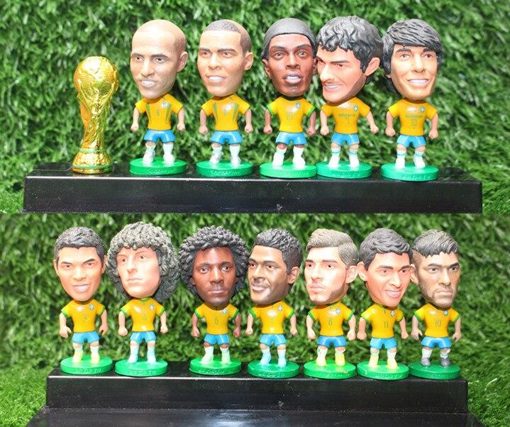 6.5cm Ronaldinho Ronaldo Kaka Neymar Football Brazil  Soccer Figure Oscar Figurine Marcelo Roberto Carlos David Luiz brazil football fans caxirola cheer horn for 2014 brazil fifa world cup