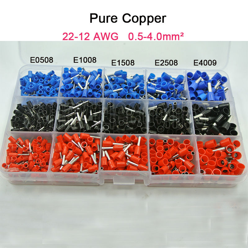 1065 unids/set 3 colores 22 ~ 12AWG de alambre de cobre de crimpado conector aislado cable Pin final Terminal de cordón cooper punteras kit