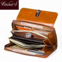 Alta capacidade moda feminina carteiras 2020 longo luxo retro senhoras carteira de couro genuíno femal embreagem moeda bolsa iphone portfel