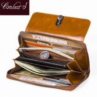High Capacity Fashion Women Wallets Long Brand Design 2018 Retro Genuine Leather Wallet Clutch Coin Purse Lady Bag For iPhone X