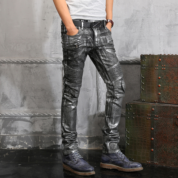 Italy Superstar Hiphop Stretch Motorcycle Jeans Men Balmans Jeans Slim  Cargo Pants Shiny Grey Washed Biker Distressed Jeans BP-in Jeans from Men's  Clothing ...