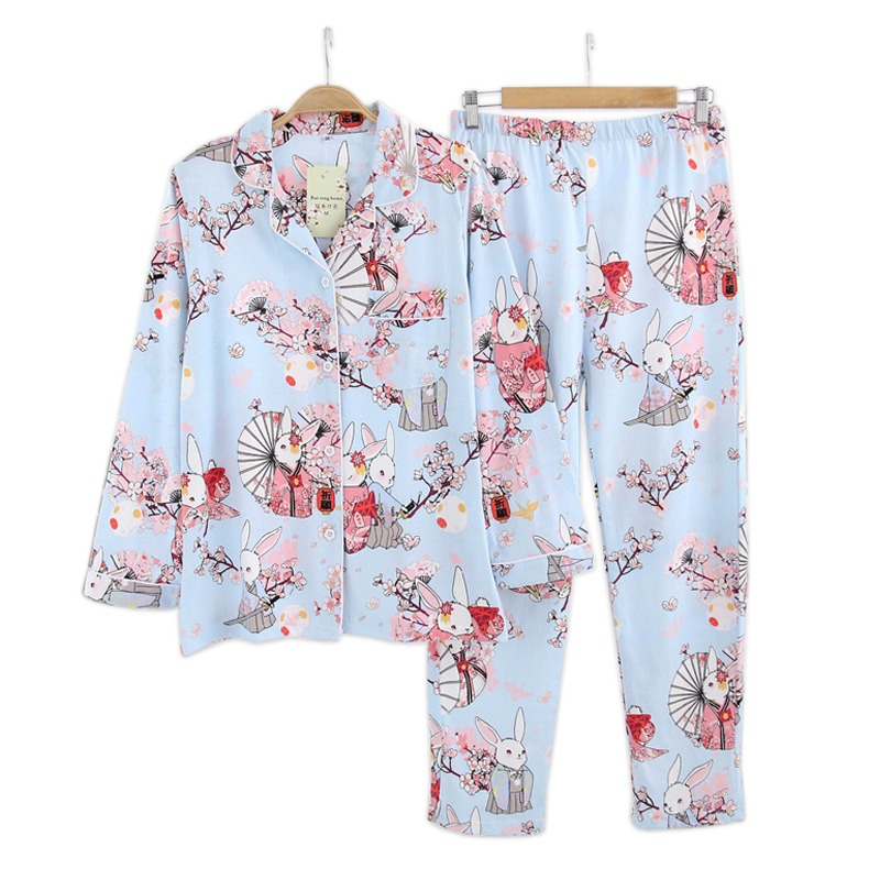 Fresh sakura rabbit   pajamas     sets   women spring long sleeve 100% cotton cozy pijama simple Japanese casual women pyjamas dormir