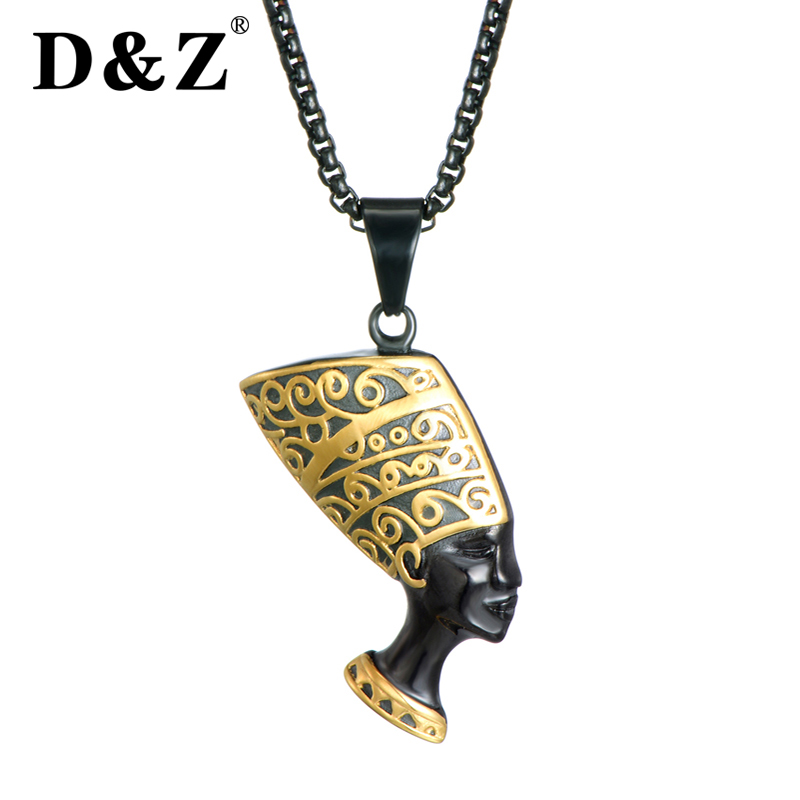 D&Z Ancient Cleopatra Nefertiti Pendants & Necklaces Stainless Steel Pyramid Egyptian Queen Necklaces for Men Women Jewelry anniyo egyptian queen nefertiti pendant