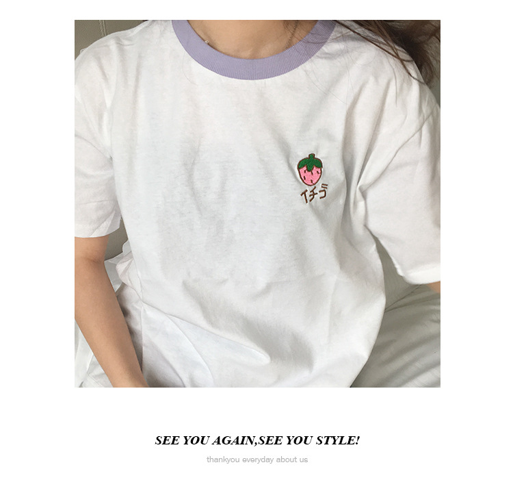 HTB11azNRpXXXXabapXXq6xXFXXXu - Cotton Fresh Sweet Simple Regular Summer Fruit Embroidered College Wind Patchwork Loose Cotton Short Sleeve Female T-shirts
