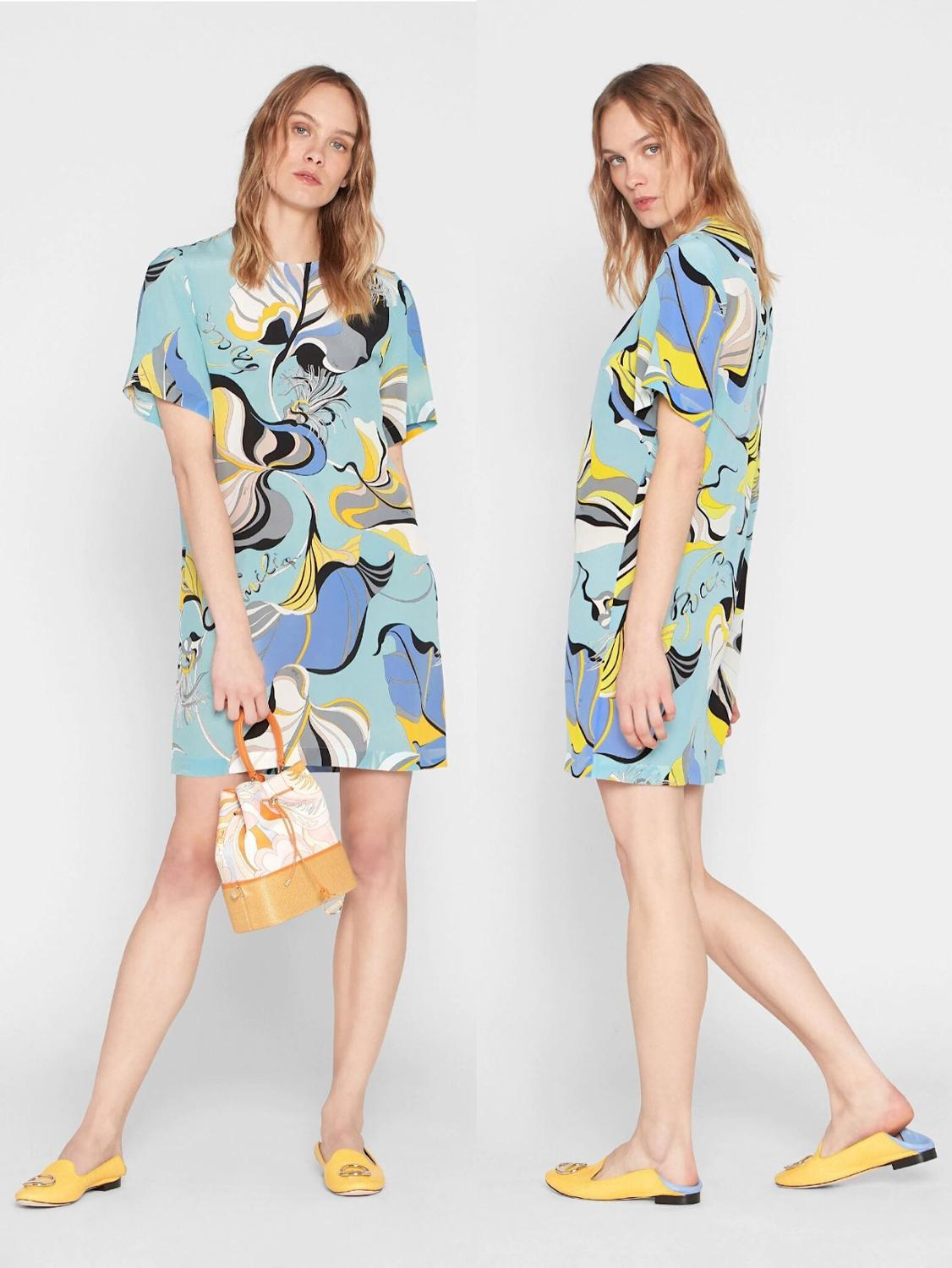 New Fashion Printed Short Sleeve silk jersey Colour impact Elastic Knitted Slim Dress for Women