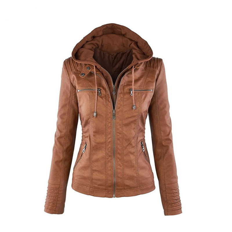 Double Zipper PU   Leather   Hooded Jacket Moto & Biker Women New Plus Size Coat Autumn Spring Casaul Streetwear Casaco Feminine