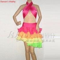 2018 new custom made Women Dance Latin skirt Competition Samba Ballroom Sexy Dance Chacha Tango Skirts 2pcs top+skirt