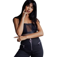 Tube Top Collar Sling Mesh Backless Perspective Jumpsuit Solid Color Stitching T