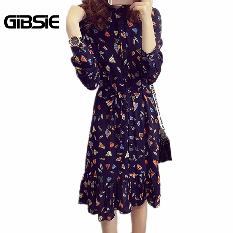 Gibsie 2017 Fashion Autumn Style Women Dresses Chiffon Long Sleeve Elegant Floral Midi Casual