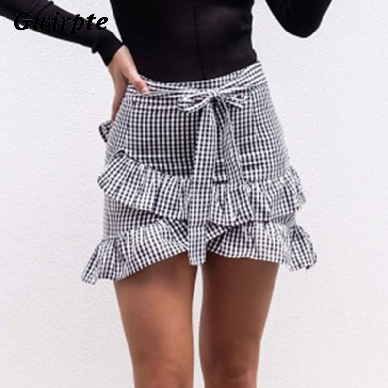 Gwirpte Lace Up Plaid Short Skirt Women Ruffle High Waist Bow Tie A-line Skirts Female Bottom Vintage Mini Skirt Summer Beach