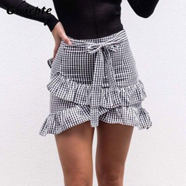 4bdabe3eaf Gwirpte Lace up plaid short skirt women Ruffle high waist bow tie A-line  skirts female bottom Vintage mini skirt summer beach