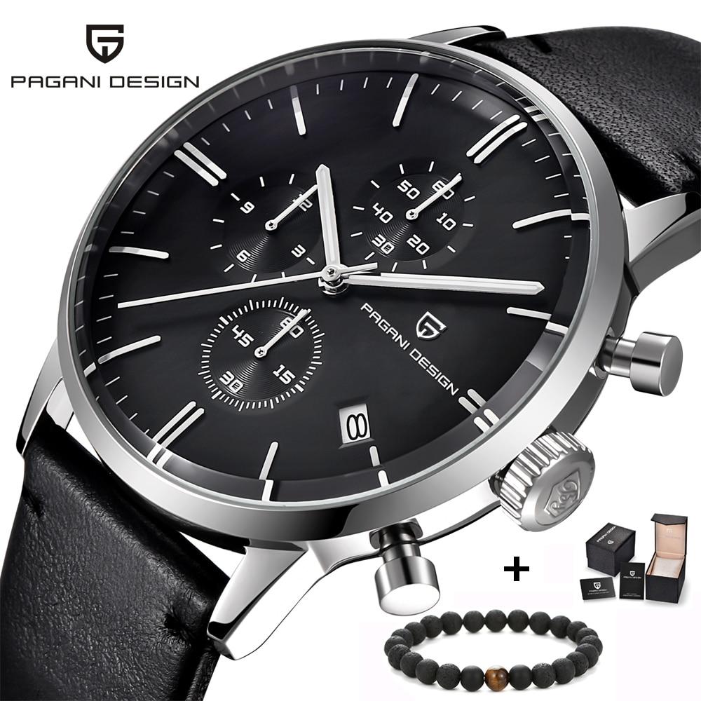 e75516129a0 Top Marca de Luxo PAGANI Projeto Chronograph Relógios dos homens de Quartzo  de Couro Moda Esporte