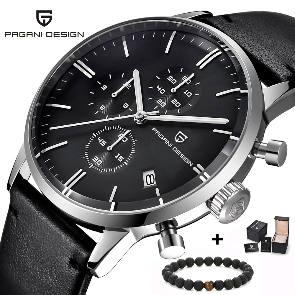 PAGANI Design Chronograph Leather Men's Watches Quartz Sport Military Wristwatch Men