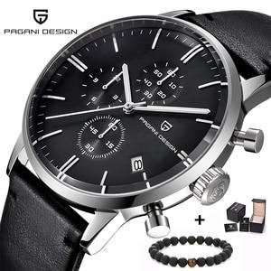 Image 1 - Top Brand Luxury PAGANI Design Chronograph Leather Mens Watches Quartz Fashion Sport Military Wristwatch Men relogio masculino