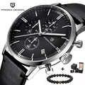 Top Marke Luxus PAGANI Design Chronograph Leder herren Uhren Quarz Mode Sport Militär Armbanduhr Männer relogio masculino