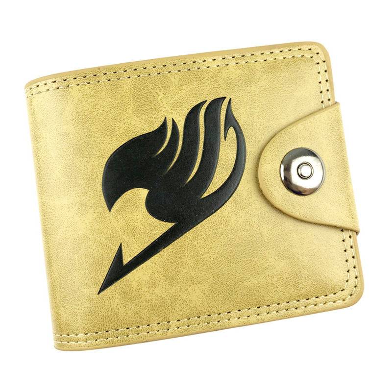 Anime Fairy Tail Leather Short Purse Embossing LOGO Casual Men Women Wallets Dollar Price Card Holder Zipper Coin Pocket Wallet