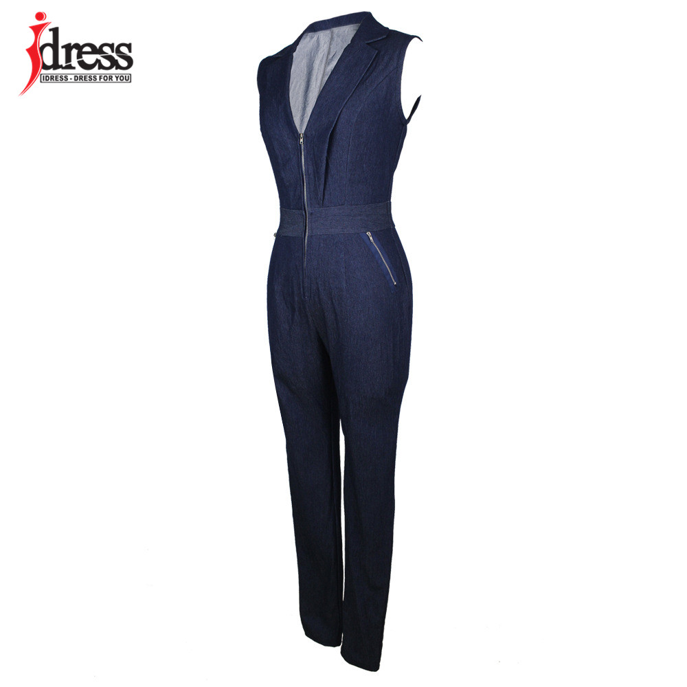 IDress Women Jeans Jumpsuit Denim Long Pants Sexy Deep V Neck Slim Overalls Jumpsuit Girl Sleeveless Club Wear Bodysuit Romper (9)