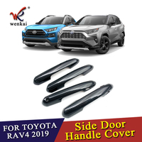 Wenkai For Toyota Rav4 2019 2020 Decorate Accessories Carbon Fiber Style Door Handle Cover Trim Molding Accessories