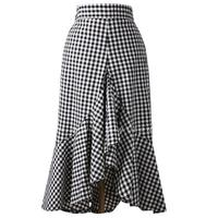 2018 Ladies High Waist Fishtail Skirt Black And White Irregular Plaid Ruffles Trumpet Mermaid