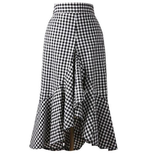 ea761defdfc 2018 senhoras de cintura alta saia rabo de peixe preto e branco xadrez  irregular ruffles trumpet