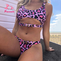Purple Leopard Bikini Push Up Brazilian Adjustable Metal Buckle Sexy Woman Swimsuit 2018 Bikini Bottoms High Cut Biquini