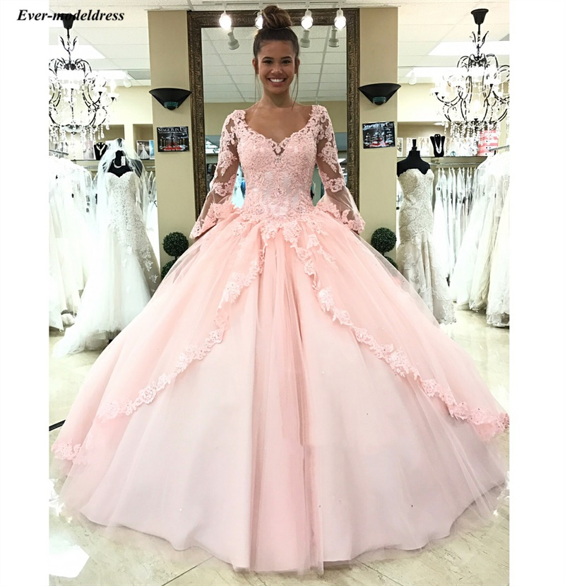 2019 Pink Princess Lace Tulle Ball Gowns Wedding Dresses