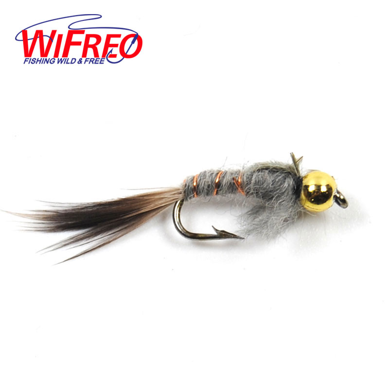 Wifreo 10PCS 10# Beadhead Grey Hare's Ear Nymph Fly Trout Fly Fishing Baits fly e135 grey tv