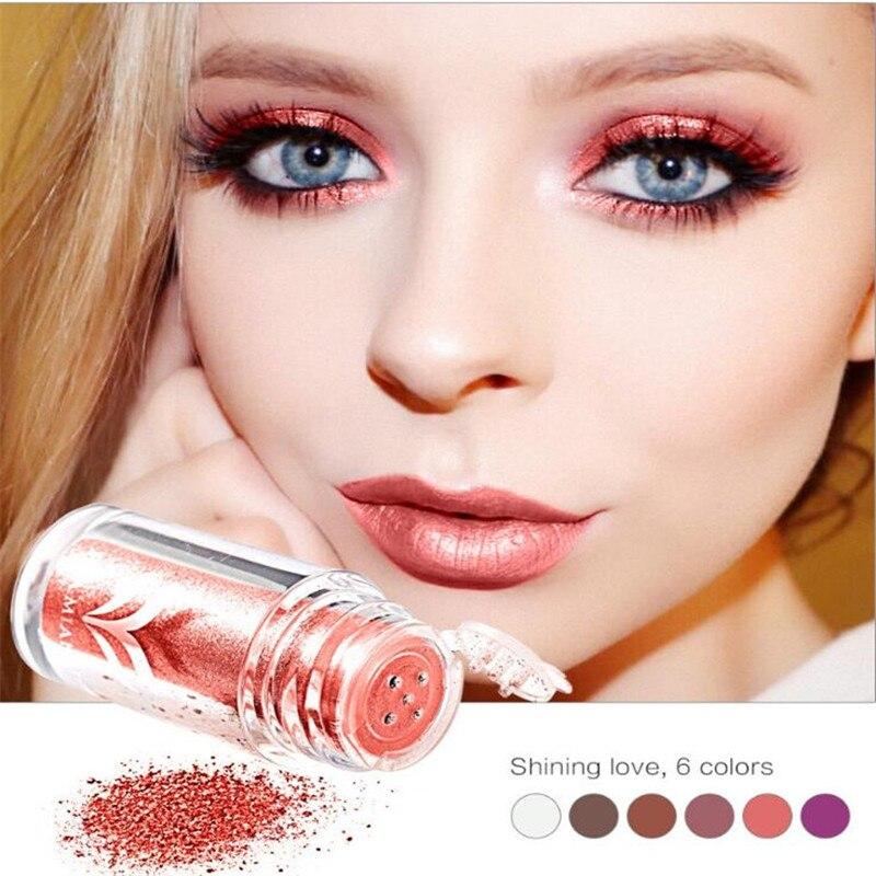 Huamianli 6 Colors Glitter Loose Eye Shadow Powder Waterproof Metallic Shimmer Diamond Lips -4144