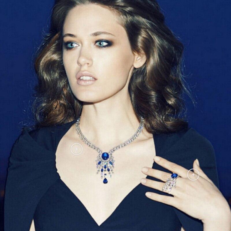 UILZ mode bleu marque bijoux de mariée ensembles de luxe cubique zircone boucle d'oreille collier ensemble pour les femmes robe de mariée JMSP141