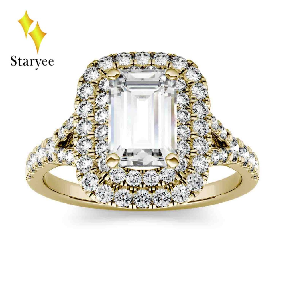 Moissanite Ring 1 ct 7*5mm DEF Luxury Moissanite Halo Engagement 14K 585 Yellow Gold Wedding Set Ring Diamond Accents For Women