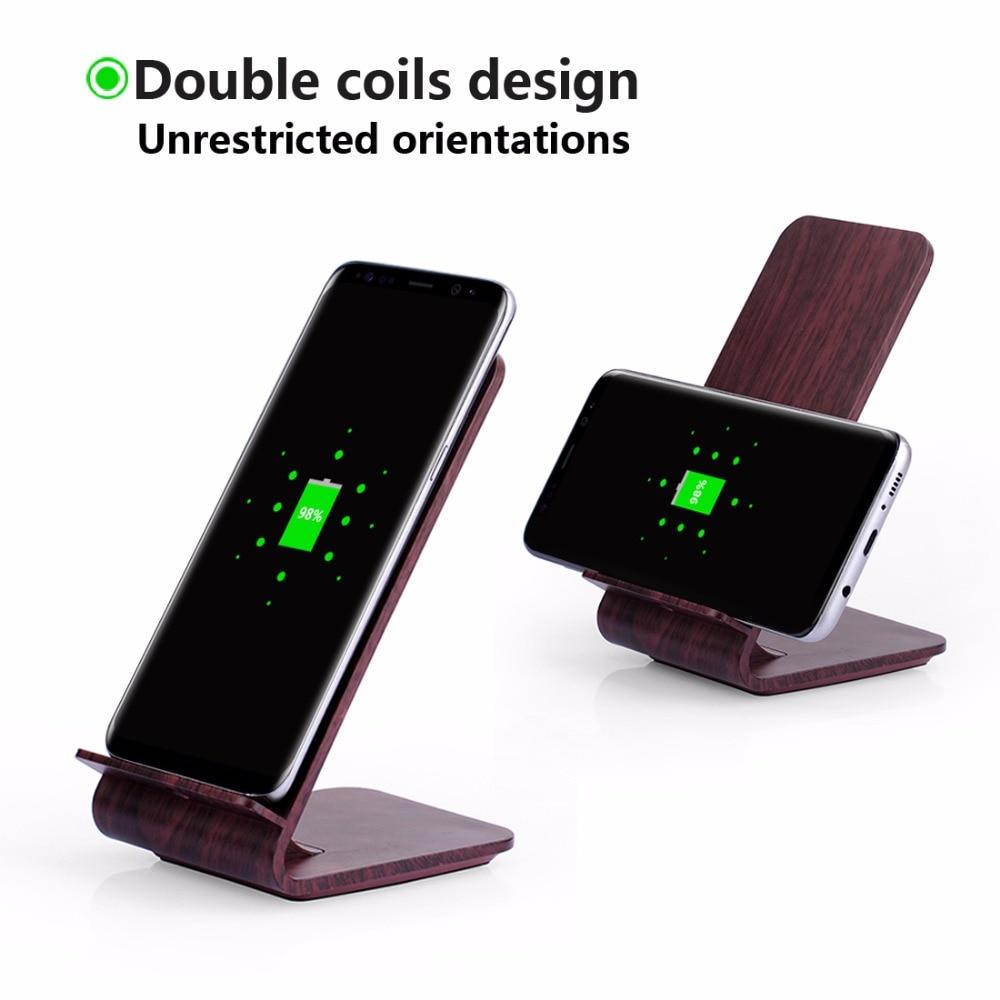 Wood Grain Stand Itian A8 Cargador inalámbrico rápido para iPhone 8 - Accesorios y repuestos para celulares - foto 4