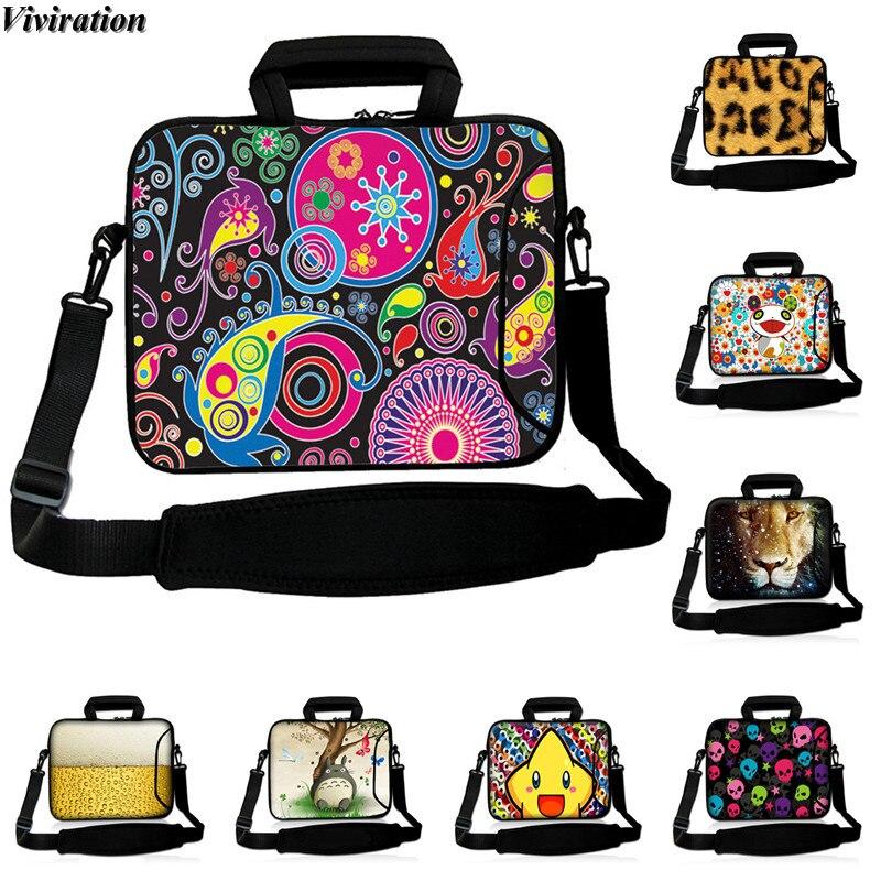 13 12 10 14 17 15 Inch Laptop Cover Zipper Messenger Carry Handbag Viviration Stylish Women Business Printing 17.3 Notebook Case